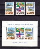 "Nederlandse Antillen Antilles 1983,3V+block,Brasiliana ""83,exhibition,exposition,MH/O Ngebruikt(A1524) - Wereldtentoonstellingen"