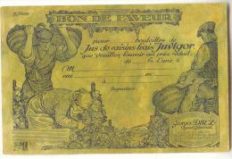 D12631 - BON DE FAVEUR  -  Jus De Raisin JUVIGOR -  Georges DUEZ à Bruxelles *dessin De XHARDEZ*vendanges* - Reclame