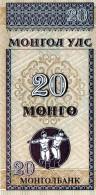 NEUF : BILLET DE 20 MONGO - MONGOLIE - Mongolia