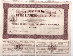 Crédit Foncier Du Brésil Et De L'Amérique Du Sud - Action De 125 Francs Au Porteur - Banque & Assurance