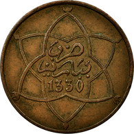 Monnaie, Maroc, Yusuf, 5 Mazunas, 1912, Bi-Bariz, Paris, TTB, Bronze, KM:28.1 - Maroc