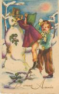Enfants - Fillettes - Illustrateur Miriam - Bonhomme De Neige Avec Pipe Et Chapeau - Bonne Année - Nouvel An -Mignonette - Dessins D'enfants