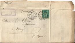 Lettre  -    Cachet  Au  Depart  D' Agen  à  Destination  De    Nay    ( 64 )   5 C Vert  Type Sage - 1877-1920: Période Semi Moderne