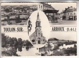 TOULON SUR ARROUX 71 - Jolie Multivues ( Borne MICHELIN Magasin CASINO ...) CPSM Dentelée Noir Blanc GF - Saône Et Loire - France