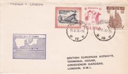 Poland 1958 First Flight Poznan-London By British European Airways - 1944-.... Republic