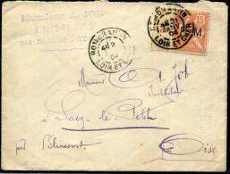 FRANCE - TIMBRE DE FRANCHISE N° 2 AVEC MANCHETTE MILL. 3 , OBL. ROMORANTIN LE 21/1/1904 POUR BLINCOURT - B - Franchise Militaire (timbres)