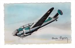 Avion Militaire Bloch 174 Triplace Bombardement Et Combat Illustrateur André Régnier Illustration - 1939-1945: 2ème Guerre
