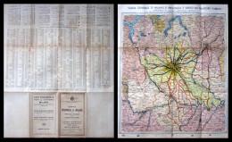 Otello Busetti. Carta Provincia Di Milano E Provincie Limitrofe Con L'elenco Dei Comuni 1945. Pieghevole. - Europa
