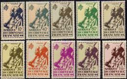 A. O. F. N° 4 / 22 XX  Tirailleur Sénégalais Et Cavalier Maure La Série Des 19 Valeurs Sans Charnière, TB - Unused Stamps