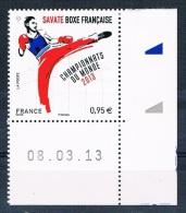 France 2013 - Réf. 4831 - Savate Boxe Française - Championnats Du Monde - Coin De Feuille Daté 08.03.13 - Neuf** - France