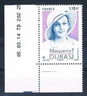 France 2014 - Réf. 4850 - Marguerite Duras - Coin De Feuille Daté 05.03.14 - Neuf** - France