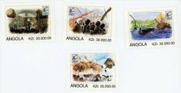 ANGOLA Brapex 96-Exposition Philatélique-Chasse-Peche -chaloupe. Serie Complete 4 Valeurs - Angola