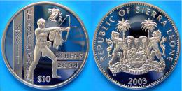 SIERRA LEONE 10 $ 2003 ARGENTO PROOF ATHENE 2004 OLYMPIC GAMES 2004 ANCIENT ARCHER PESO 28,28g TITOLO 0,925 CONSERVAZION - Sierra Leone