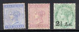 INDIA, 1882, 2As, 8As, 2½As (unused No Gum), Cat £58 - Inde (...-1947)
