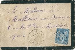 Enveloppe   - Cachet Au  Départ  De   Médéah  ( Algérie )   à  Destination    De  Marciac   ( 32 )  15c Bleu Type Sage - 1877-1920: Semi Modern Period