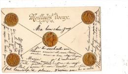 REPRESENTATION DE PIECE 10 FRANC OR COQ 1900 CARTE PRECURSEUR ET GAUFFRE - Monnaies (représentations)