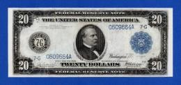 USA 20 $ Dollars 1914 Grover Cleveland P361b Blue Seal Bank Of Chicago VF - Billets De La Federal Reserve (1914-1918)