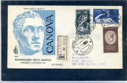 FDC VENETIA 1957 ANTONIO CANOVA - 6. 1946-.. Repubblica