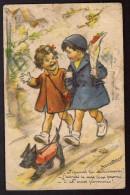 CPA GERMAINE BOURET - Couple D'enfants Au Fox Terrier Noir - Bouret, Germaine