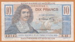 SAINT PIERRE ET MIQUELON 10 FRANCS COLBERT Série E.41 ,Caisse Centrale De La France D Outre-mer. - Otros – América
