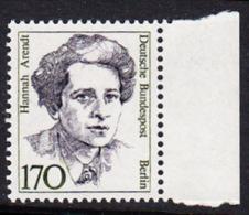 !a! BERLIN 1988 Mi. 826 MNH SINGLE W/ Right Margin -Women Of German History: Hannah Arendt - Nuevos