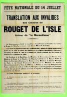 HISTOIRE - TRANSLATION AUX INVALIDES DES CENDRES DE ROUGET DE L'ISLE - LA MURAILLE DU SOUVENIR - - Histoire