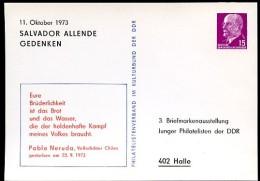 ALLENDE + NERUDA DDR PP10 D2/010b Privat-Postkarte Halle 1973 - Schriftsteller