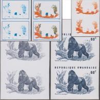 Rwanda 1970 Y&T 372. Essais De Couleurs, Gorille Des Montagnes. Singes, Arbres - Gorilles