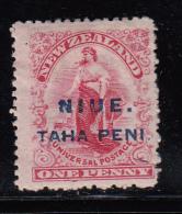 Niue MH Scott #7 Blue Overprint ´Niue Tahe Peni´ On 1p 'Commerce' - Wmk 61, Perf 14 - Niue