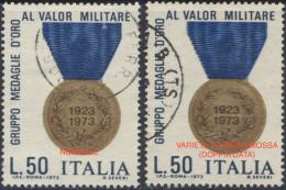 """1973 """"MEDAGLIE D´ORO AL VALOR MILITARE"""" L.50 USATO VARIETA´ """"STAMPA SMOSSA"""" N.257Aa - LUXUS USED - Abarten Und Kuriositäten"""