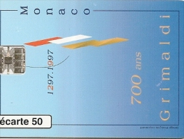 CARTE-PUBLIC-MONACO-50U-MF43-SC7-10/96-700ANS Des GRILMADI-V°N°7-UTILISE-TBE - Monaco