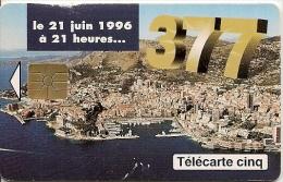CARTE-PUBLIC-MONACO-5U-MG1-GEM B-05/96-CHANGEMENT De N°-R°Trace Blanche-UTILISE-BE COURANT-RARE - Monaco