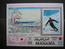 Manama 1972 Olympic Games Sapporo ** MNH S/s # Mi.Block Imperf. - Hiver 1972: Sapporo