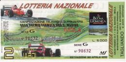 BIGLIETTO LOTTERIA NAZIONALE SAN MARINO IMOLA 1995-  CON TAGLIANDO - - Biglietti Della Lotteria