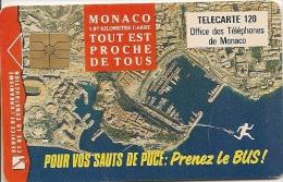 CARTE-PUBLIC-MONACO-120U-MF27-GEM A-Sans Logo-01/93-PRENEZ Le BUS-UTILISE-TBE - Monaco