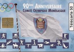 CARTE-PUBLIC-MONACO-50U-MF44-GEM B-04/97-COMITE OLYMPIQUE-V°Grands N°-UTILISE-BE - Monaco