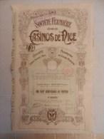 Société Fermière Des Casinos De Nice - Part Bénéficiaire Au Porteur - 1910 - Casino