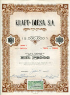 """URUGUAY ACCIONES SHAREHOLDING TITRES N°003315 """"KRAFT-IMESA S.A"""" YEAR 1951 1000 PESOS WITH STAMPS TBE GECKO - Industry"""