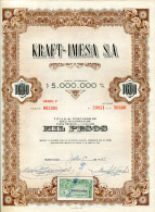 """URUGUAY ACCIONES SHAREHOLDING TITRES N°003301 """"KRAFT-IMESA S.A"""" YEAR 1951 1000 PESOS WITH STAMPS TBE GECKO - Industrie"""