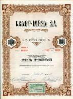 """URUGUAY ACCIONES SHAREHOLDING TITRES N°003318 """"KRAFT-IMESA S.A"""" YEAR 1951 1000 PESOS WITH STAMPS TBE GECKO - Industrie"""