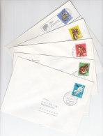 SCHWEIZ  845-849, Pro Juventute 1966 Auf 5 Bedarfsbriefen, Hermelin, Eichhörnchen, Fuchs, Hase, Gemse - Pro Juventute