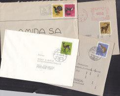 SCHWEIZ  866-869 + 891, Pro Juventute 1967 Auf 4 Bedarfsbriefen, Reh, Marder, Steinbock, Fischotter, Auerhahn - Lettres & Documents