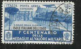 EGEO 1934 MEDAGLIE ESPRESSO AEREO SPECIAL DELIVERY AIR MAIL LIRE 2 + 1,25 USATO USED OBLITERE' - Egée