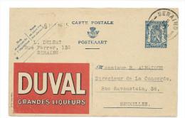 Publibel Obl. N° 600 ( DUVAL Grandes Liqueurs) Obl: Seraing 04/08/1943 - Stamped Stationery