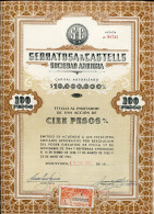 """URUGUAY ACCIONES SHAREHOLDING TITRES """"SERRATOSA & CASTELLS S.A"""" N° 98738 YEAR 1964 100 PESOS STAMP TIMBRE TBE GECKO - Industrie"""