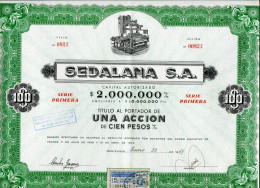"URUGUAY ACCIONES SHAREHOLDING TITRES ""SEDALANA S.A"" AÑO 1947 UNA ACCION DE CIEN PESOS  STAMP TIMBRE TBE GECKO - Industrial"