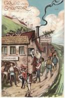 Gruss Vom Salvator, Salvatorkeller, Munich Muenich Germany Drinking Culture, C1900s Vintage Postcard - Muenchen