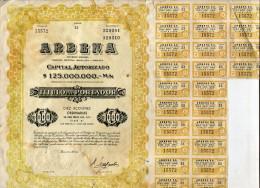 "ARGENTINA ACCIONES SHAREHOLDING TITRES ""ARBENA S.A"" DIEZ ACCIONES AÑO 1961 TBE GECKO - Industrie"