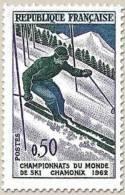 N° 1327 Ski Chamonix 1962 Faciale 0,50 F - Ungebraucht