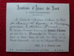 LILLE ACADEMIE D ARMES DU NORD 1892 ESCRIME - Faire-part